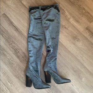 Zara Over The Knee Blue Velvet Boots.